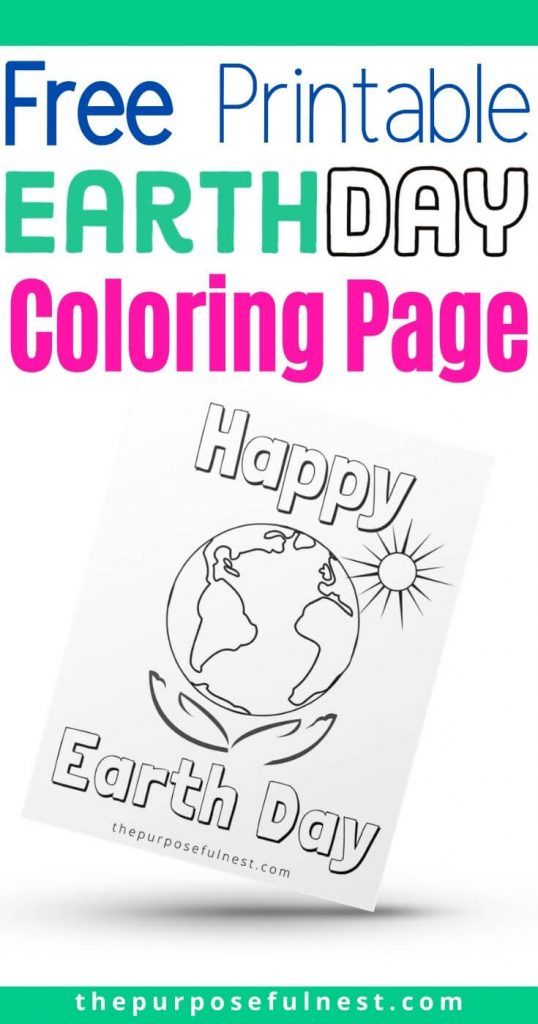 Earth Day Coloring Page For Kids The Purposeful Nest